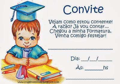 Convite formatura educação infantil