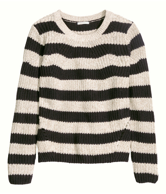 hm striped jumper, black beige stripe jumper,