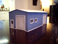 Scratch built styrene garage – front right view