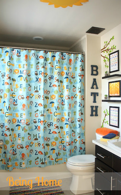 Boys Bathroom Makeover - After (ABC Shower Curtain)