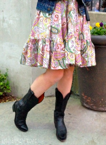 Summer to Fall transition look with cowboy boots and paisley trapeze dress