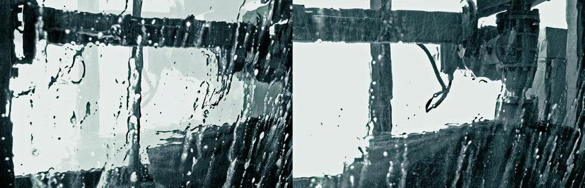 Dua fotos unidas, tiradas de dentro do carro enquanto a máquina o lavava