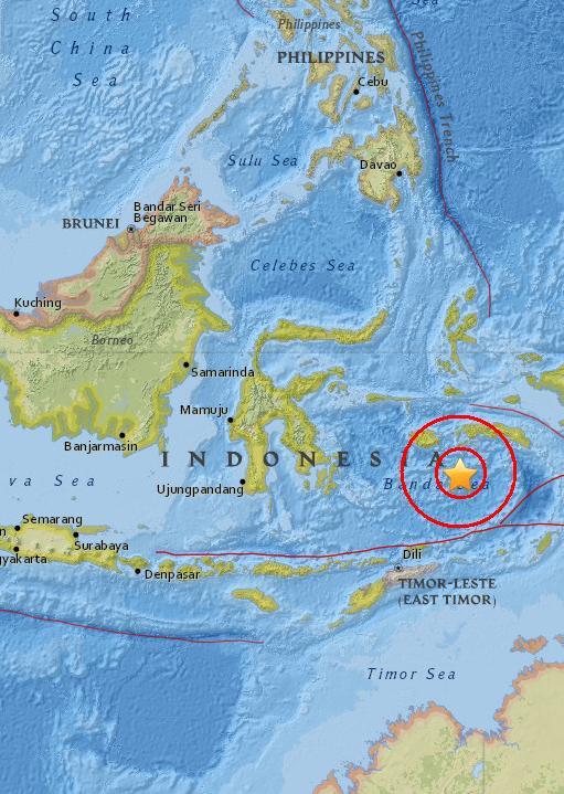 Magnitude 4.8 Earthquake of Amahusu, Indonesia 2015-06-04
