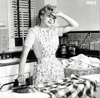 1953 50s homemaker ironing Just Peachy, Darling