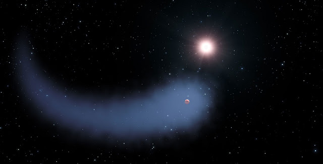 This artist's concept shows the enormous comet-like cloud of hydrogen bleeding off of the warm, Neptune-sized planet Gliese 436b just 30 light-years from Earth. Also depicted is the parent star, which is a faint red dwarf named Gliese 436. The hydrogen is evaporating from the planet due to extreme radiation from the star. A phenomenon this large has never before been seen around any exoplanet. Credit: NASA, ESA, STScI, and G. Bacon