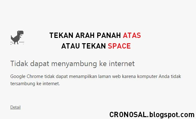 Mainkan Game T-rex Runner di Google Chrome 'Unable to Connect to the Internet'