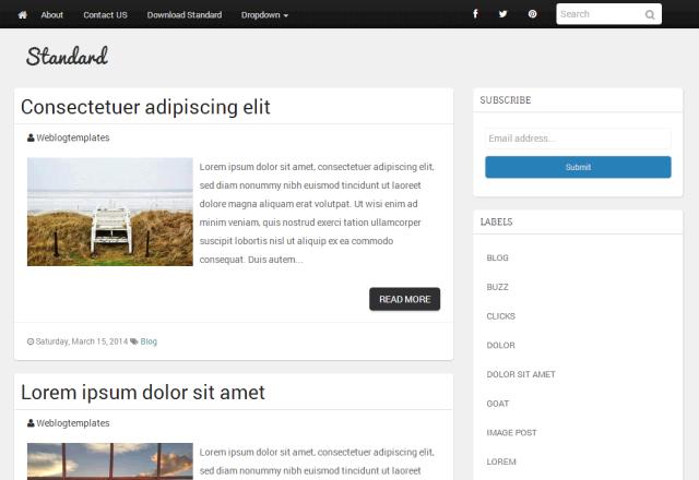 Standard Blogger Template Weblogtemplates