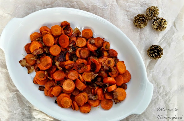 Easy, healthy recipes: Bacon glazed carrots {Welcome to Mommyhood} #paleo, #easyhealthyrecipes, #easyhealthyrecipes