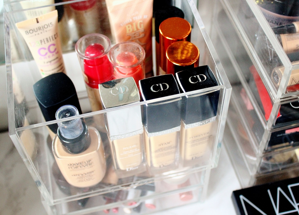 Muji storage, makeup storage, CD acrylic holder, foundation holder