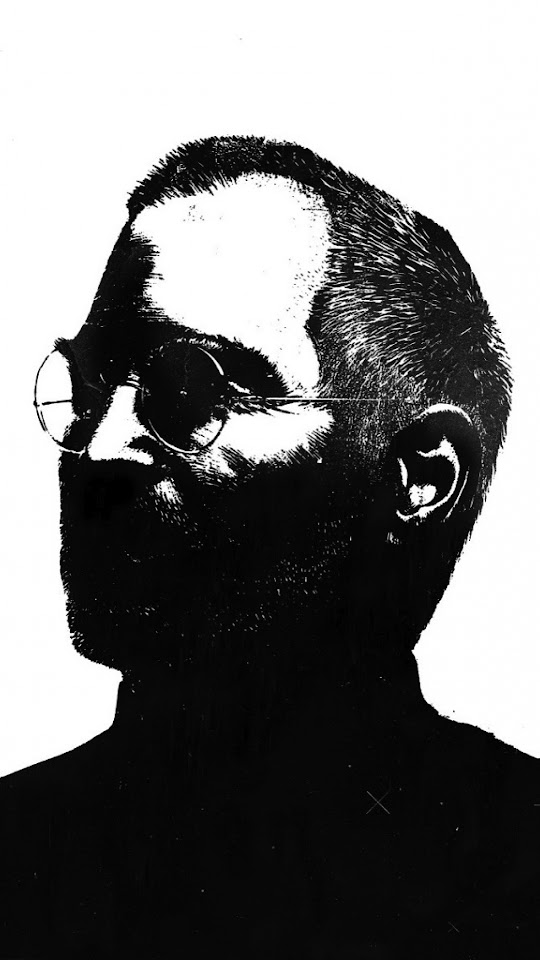 Steve Jobs Black and White Illustration  Galaxy Note HD Wallpaper