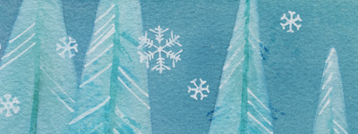 painting of the snow falling over the trees