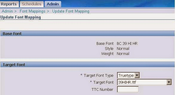 Barcode font mapping on Oracle BI Publisher report www.techonestop.com