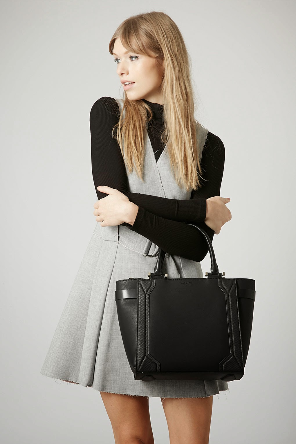 topshop black celine bag