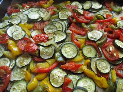 Alles zusammen 30 min auf einem backblech in den ofen