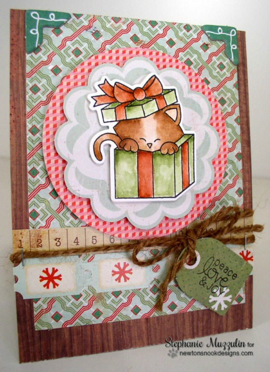 Christmas Cat Card by Stephanie Muzzulin | Newton's Christmas Cuddles Stamp & Die set by Newton's Nook Designs #newtonsnook