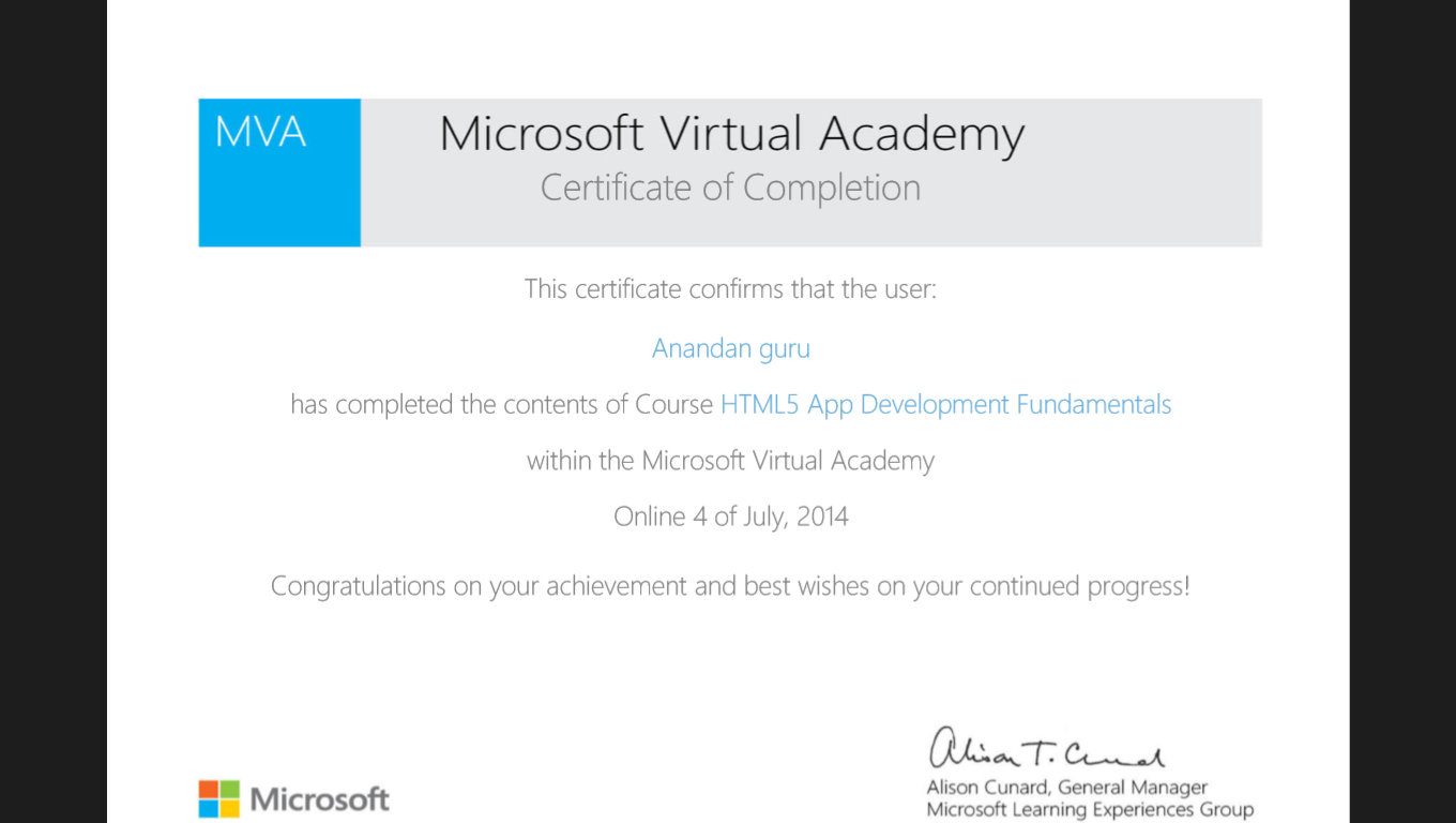 Microsoft online certification i would like to introduce u to microsoft virtual course which provides official certificate s from microsoft for completing each course 1betcityfo Gallery