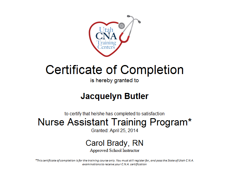 Certificate Of Completion Nurse Assistant Training Program  Certificate Of Completion Training