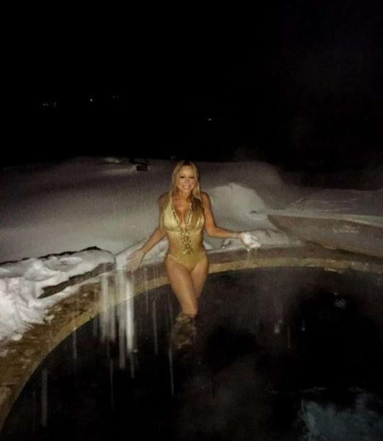 Mariah Carey in Gold Swimsuit