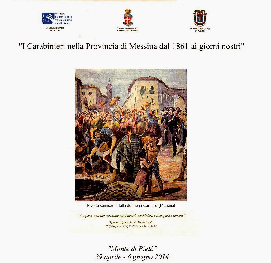 """MOSTRA AL MONTE DI PIETA': """"I CARABINIERI NELLA PROVINCIA DI MESSINA DAL 1861 AI GIORNI NOSTRI"""""""