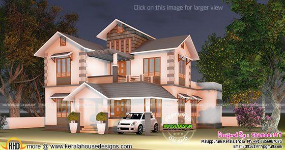 Sloped roof villa