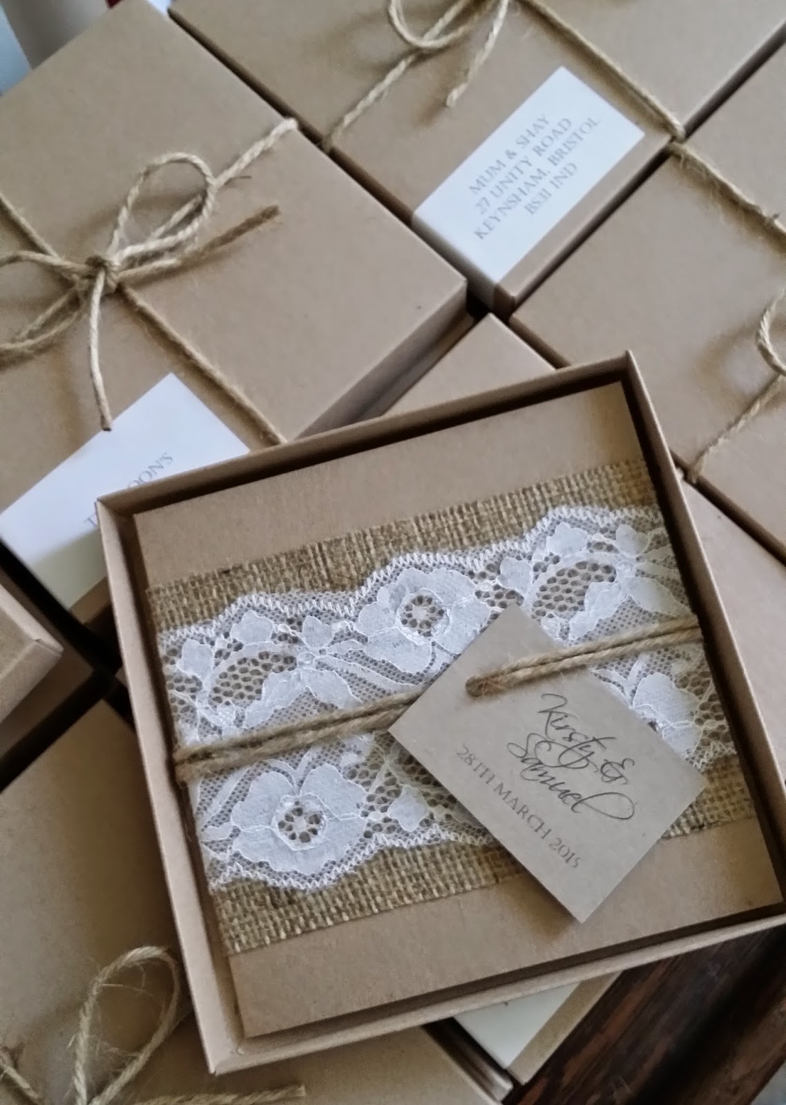 Knots and Kisses Wedding Stationery: Rustic Lace and ...