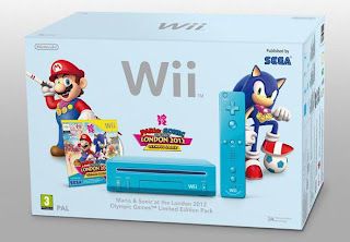 Blue Wii Console + Mario &amp; Sonic