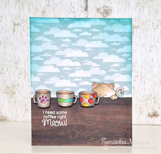 Coffee Cat Card by Samantha Mann | Newton Loves Coffee Stamp set by Newton's Nook Designs #newtonsnook #coffee