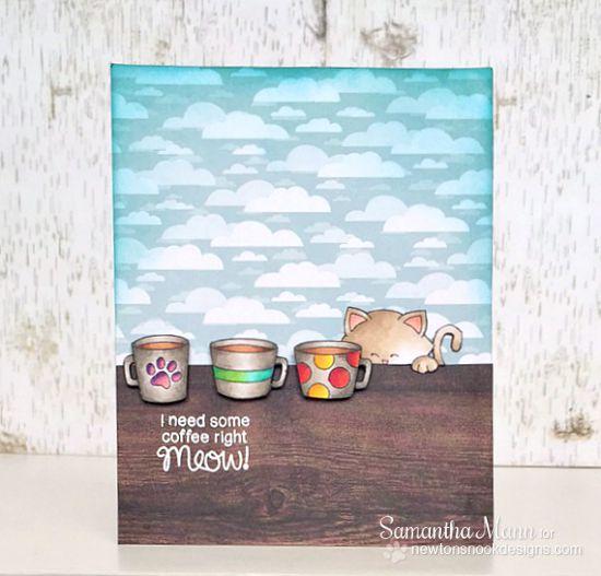 Coffee Cat Card by Samantha Mann | Newton Loves Coffee Stamp set by Newton's Nook Designs #newtonsnook #coffee