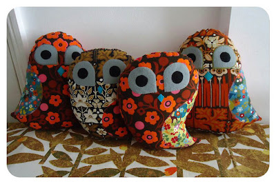 Vintage fabric owls