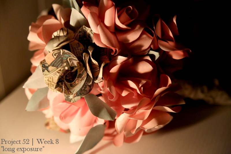 paper flower wedding bouquet (lit by candlelight)