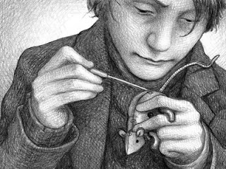 Utopia e realidade- Garoto costurando rato de pano