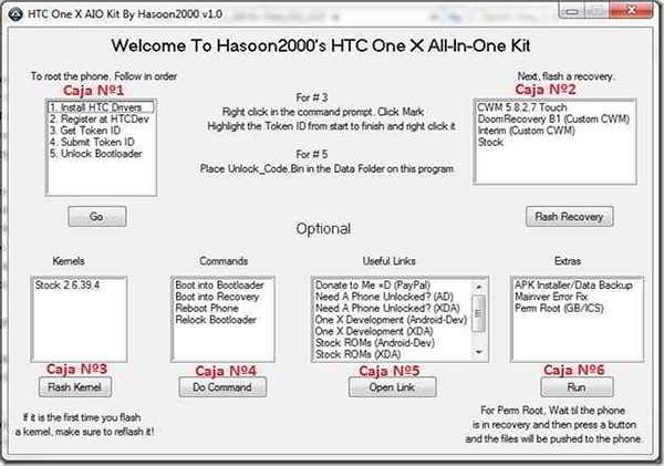 Pasos a seguir. Paso 1: Instalar los drivers Basta con seleccionar la opción Install HTC Drivers de la caja Nº1 y le das a Go Paso 2: Desbloquear el bootloader. En la caja Nº1 de donde instalamos los drives utilizaremos las opciones 2,3,4 y 5 utilizando una a la vez y dándole al botón Go . Tardaras unos 5 minutos, pero no es nada complicado. Paso 3: Flashear el recovery En la caja Nº2, seleccionaremos el CWM 5.8.2.7 Touch y luego pulsas el botón Flash Recovery Paso 4: Rootear Primero iniciamos el teléfono en modo Recovery. Para ello seleccionamos la