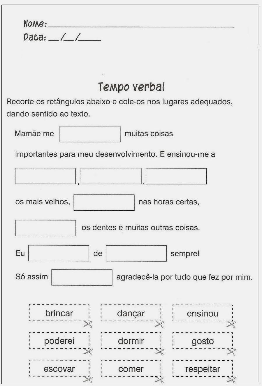 Atividade de Português - Tempo Verbal