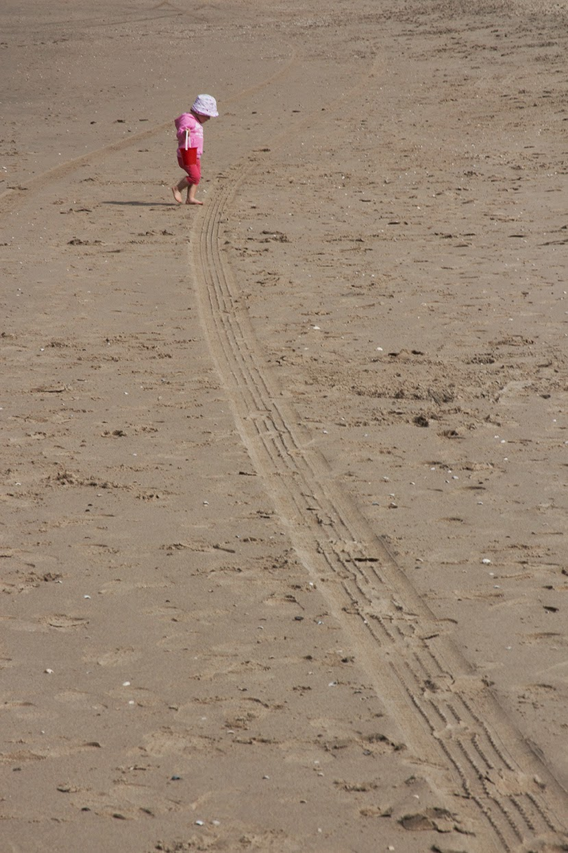 little girl in pink crossing the beach
