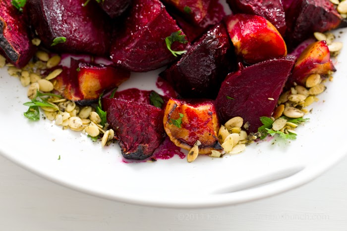 Ginger-Citrus-Maple Roasted Beets & Apples with Pumpkin Seeds.