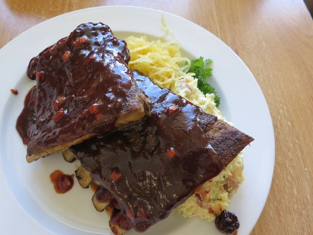 BBQ Ribs with Potato Salad and Buttered Spaghetti Squash