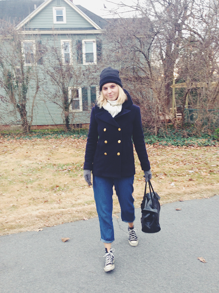 Fashion Over Reason, J.Crew Majesty navy pea coat, Converse black high top Chuck Taylor, American Apparel beanie, Club Monaco denim, Cowboys Bag Amsterdam leather tote