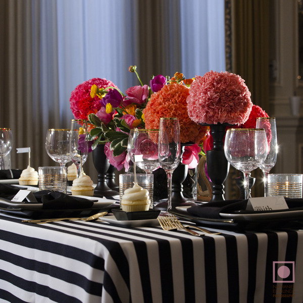 Black and White Striped Wedding Tablescape