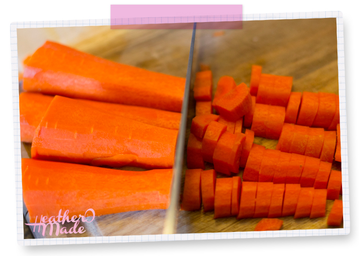 When prepping your veggies, like carrots, line them up side by side & cut them all at once.