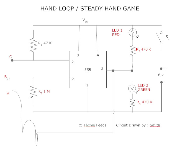 wire loop / steady hand game: simple electronics circuit - techie, Circuit diagram