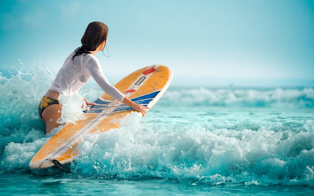 Girl Out For Surfing