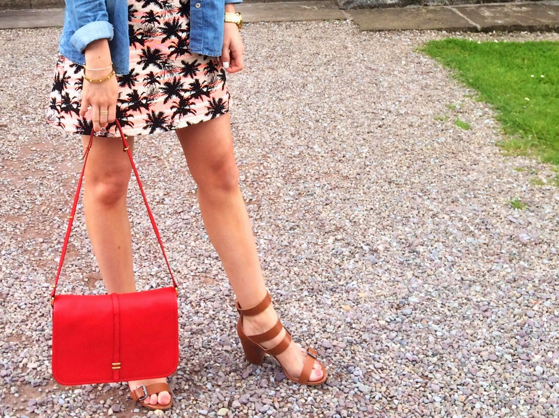 Steph About Town Red Bag Topshop Palm Tree Skirt