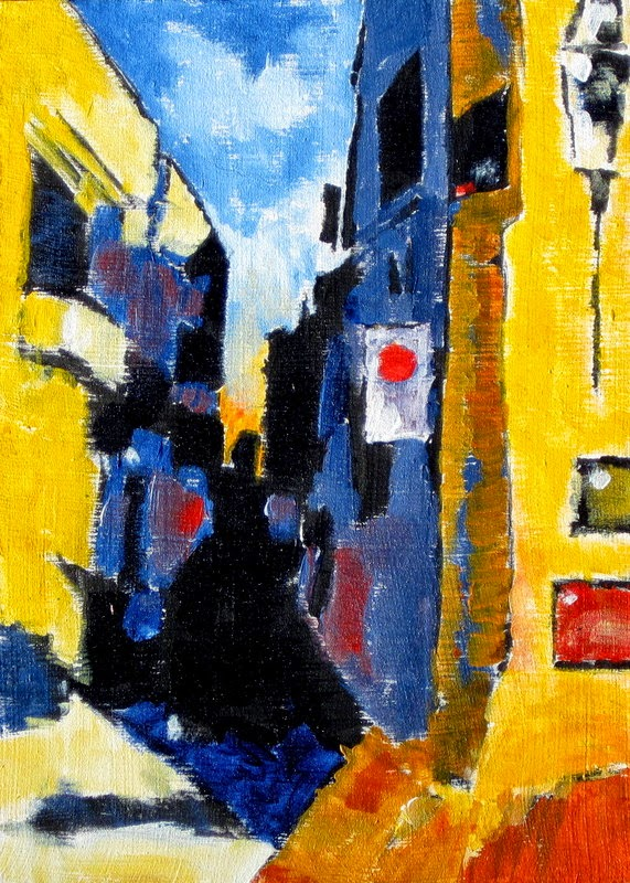 original painting sicily narrow streets bruce docker