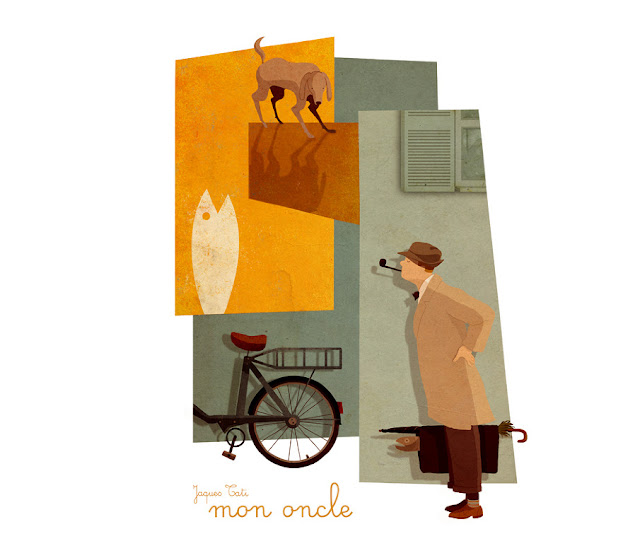 Jacques Tati, mon oncle, mi tio, pelicula, francia, andrew lion, ilustracion,illustration