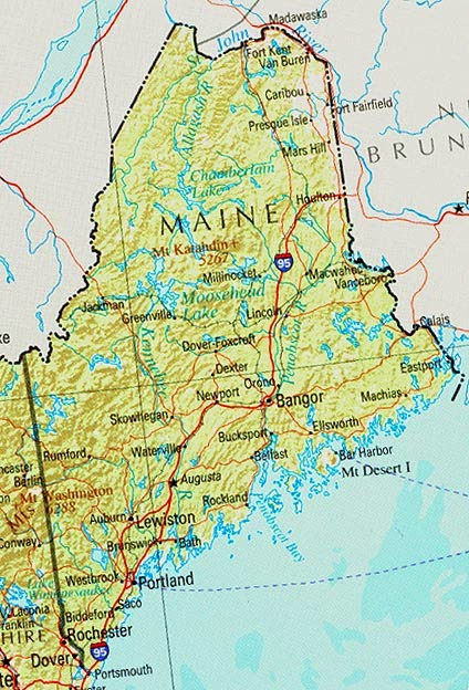 Printable map of the state of Maine road.