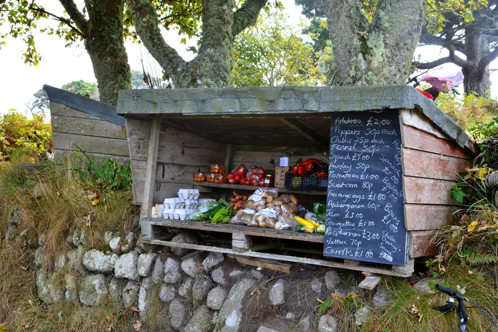 Fruit and Veg stall on Tresco