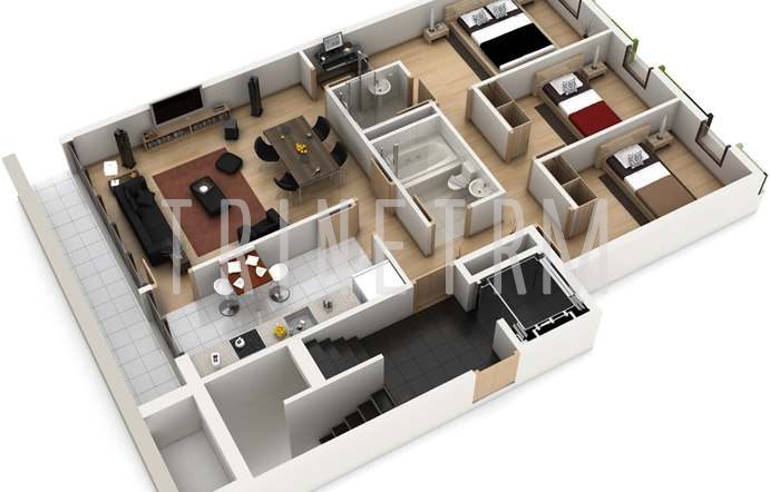 3D House Plans With 3 Bedrooms On 3d 5 Bedroom House Floor Plans As
