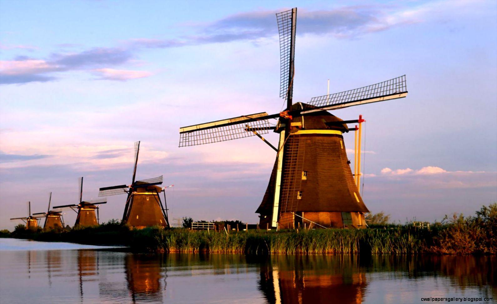 Dutch Windmills HD Knockout Wallpaper Free HD Wallpaper   Download