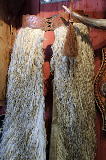 Vintage White Angora Woolie Chaps with Basket Stamped Billet - Price upon request