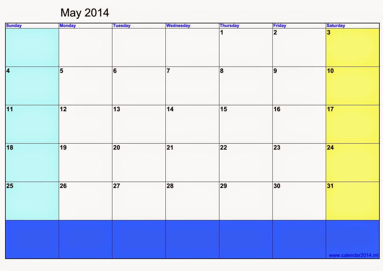 Blank May Calendar : Calendario para imprimir